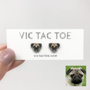 custom pug earrings