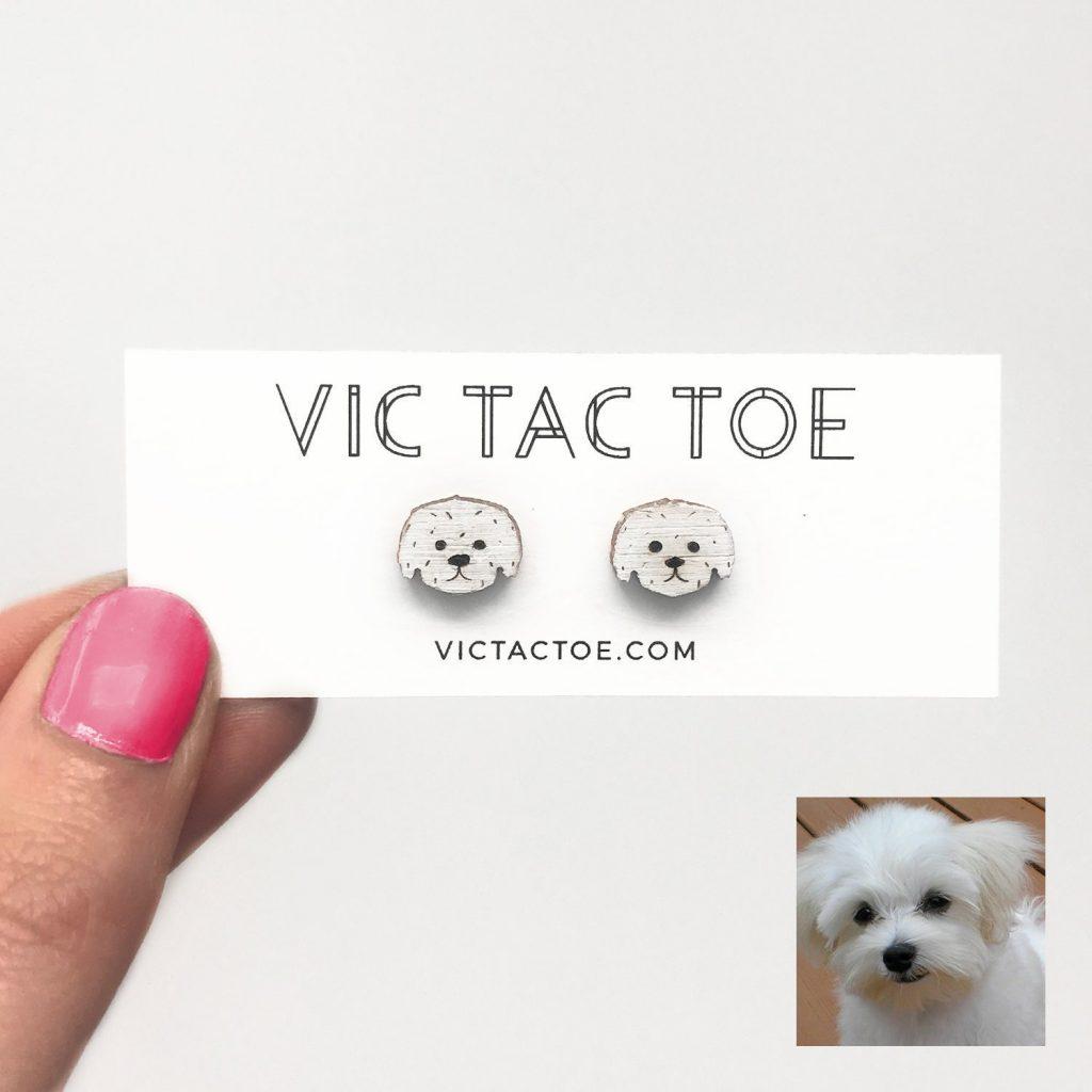 custom maltese earrings