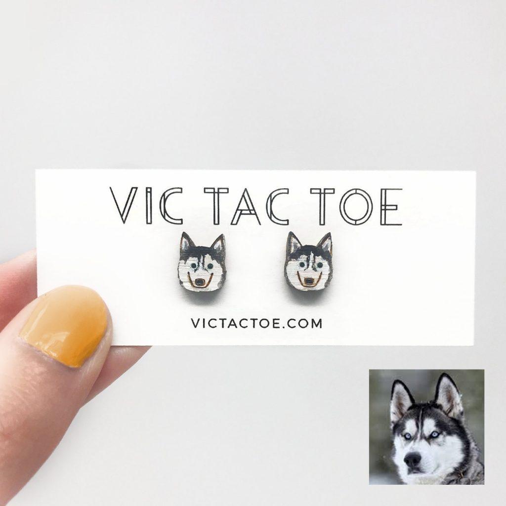 custom siberian husky earrings