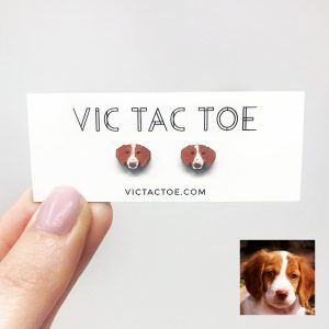 custom brittany dog earrings, brittany dog gifts, brittany dog lovers, brittany earrings, custom dog earrings
